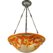 Rewired Vintage Ceiling Bowl Chandelier Cameo Glass Butterfly Light (ANT-595)