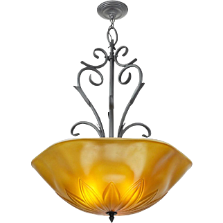Tuscan Mediterranean Type Large Ceiling Bowl Chandelier Light Fixture (ANT-601)