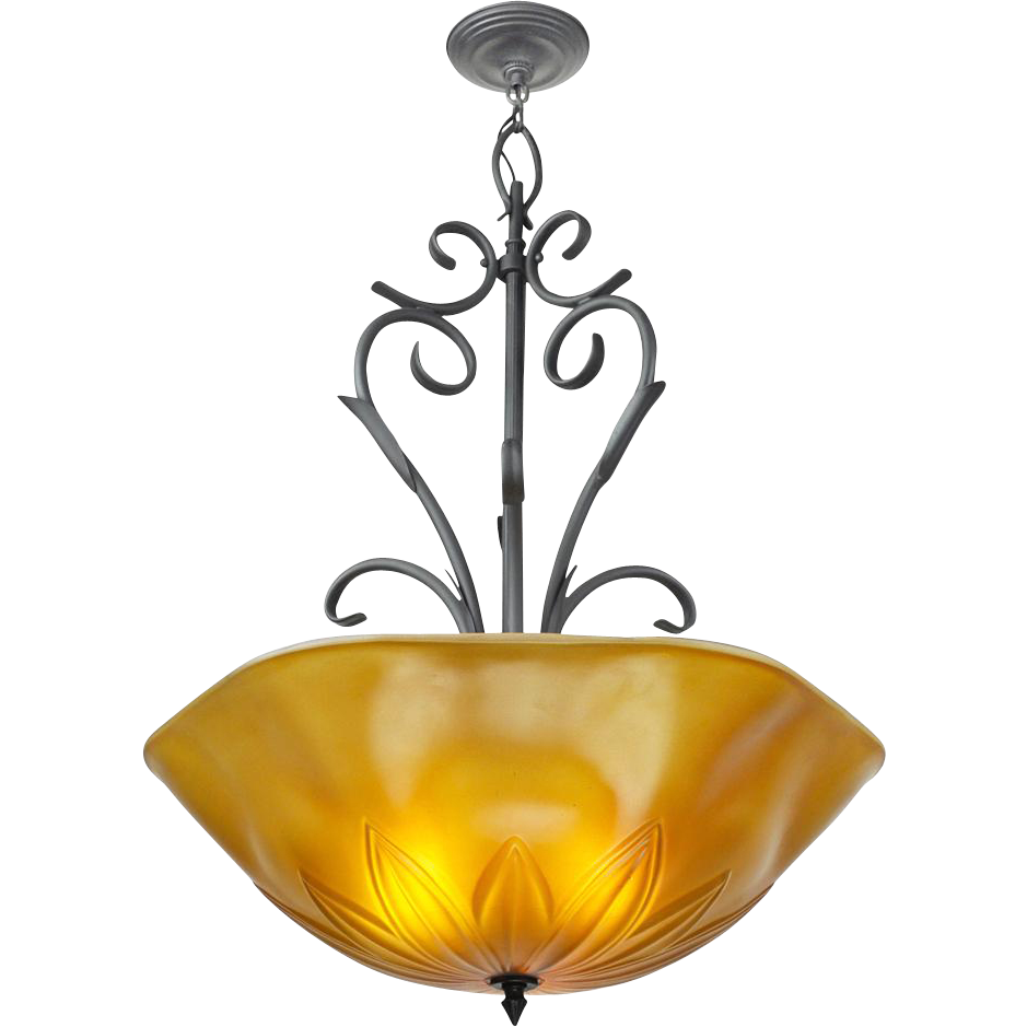 Tuscan Mediterranean Type Large Ceiling Bowl Chandelier