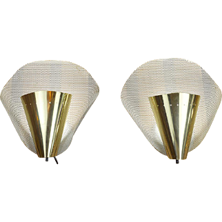 MidCentury Modern Pair of Wall Sconces Vintage Abstract Design Lights (ANT-603)