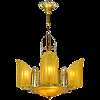 Art Deco Streamline Slip Shade Chandelier 6 Light 30s Ceiling Fixture (ANT-609)