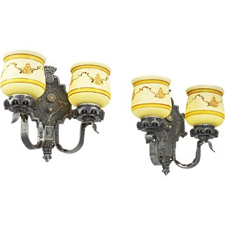Edwardian Double Arm Wall Sconces Pair Restored 1920s Two Arm Lights (ANT-610)