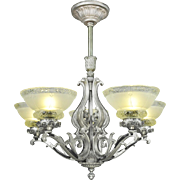 Art Deco Chandelier 5 Light Ceiling Fixture Pewter Finish (ANT-619)