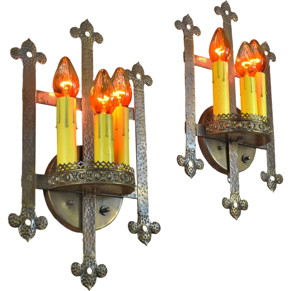 Gothic or Arts and Crafts Style Bare Bulb Candle Wall Sconces Lights from vintagehardware ...