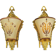 Art Deco Wall Sconces Pair Slip Shade Lights Circa 1930 by Williamson (ANT-626)