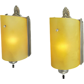 Art Deco Streamline Modernist Pair Wall Sconces Early Modern Lights (ANT-631)