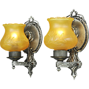 Pair Edwardian Victorian Style Wall Sconces Circa 1920s - 1930s Lights (ANT-651)