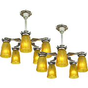 Art Deco Chandeliers Pair 5 Arm Pewter Ceiling Lights 1930s Fixtures (ANT-654)