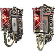 Edwardian Wall Sconces Pair Large Victorian Style Lights Fixtures (ANT-655)