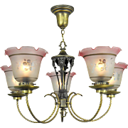 Edwardian Chandelier 5 Arm Ceiling Light Fixture Circa 1920 Lighting (ANT-661)