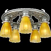 Edwardian Vintage Chandelier Semi Flush Mount 5 Light Ceiling Fixture (ANT-664)