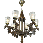 Victorian Style Gothic Renaissance Griffin Chandelier 6 Arm Light (ANT-667)
