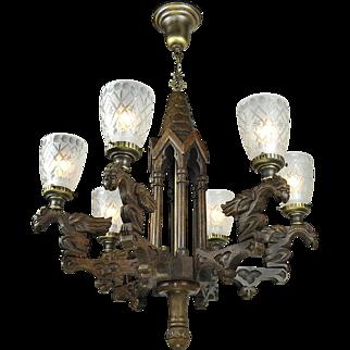 Victorian Style Gothic Renaissance Griffin Chandelier 6 Arm Light (ANT-667)