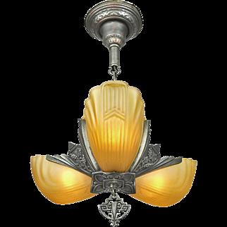 Art Deco Chandelier 3 Slip Shade Ceiling Light Fixture 1930s Markel (ANT-670)