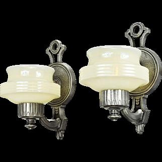 Art Deco Streamline Style Wall Sconces Pair Vintage Lights Fixtures (ANT-673)