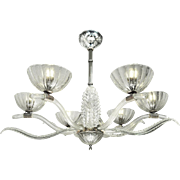 Art Deco Streamline Chandelier Vintage French 6 Arm Glass 1930s Light (ANT-674)