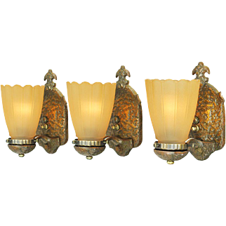 Arts and Crafts Style Wall Sconces Set of 3 Rustic Lights Fixtures (ANT-675)