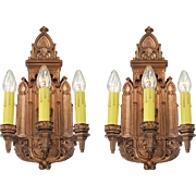 Antique Victorian Wall Sconces Pair of Plaster Lights 1880s Fixtures (ANT-676)