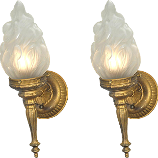 Flame Torch Style Wall Sconces Old Gold Color Vintage Lights Fixtures (ANT-680)
