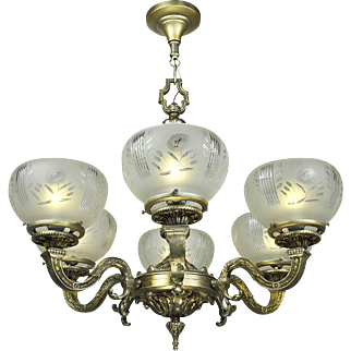 French Chandelier 6 Arm Ceiling Light Fixture Circa 1920 (ANT-685)