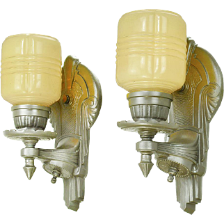 Art Deco Streamline Style Wall Sconces Pair of Lights 1930s Lighting (ANT-686)