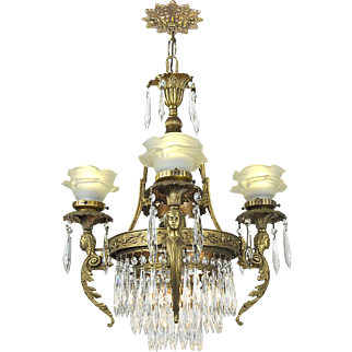 French Crystal Chandelier Vintage 4 Arm Figural Ceiling Light Fixture (ANT-688)