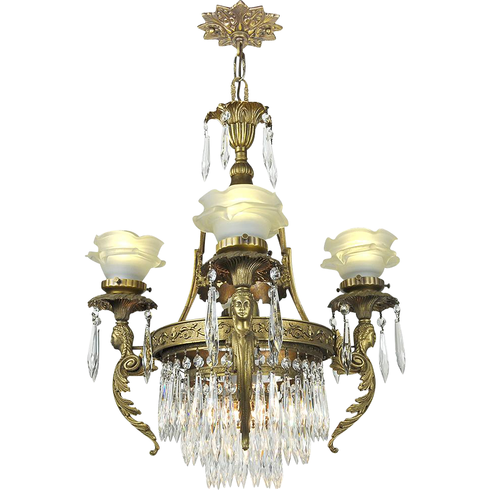 French crystal chandelier vintage 4 arm figural ceiling light fixture from vintagehardware - Ceiling crystal chandelier ...