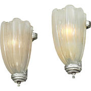 Art Deco Streamline Wall Sconces 30s Slip Shade Lights Pair Fixtures (ANT-689)
