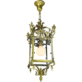 Vintage Pendants Brass Ceiling Fixtures Circa 1920 Entry Hall Lights (ANT-690)