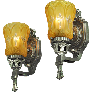 Vintage Wall Sconces Pair of Edwardian Style Lights with Amber Shades (ANT-693)