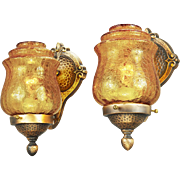 Arts & Crafts Style Wall Sconces Pair Bronze and Crackle Glass Lights (ANT-694)