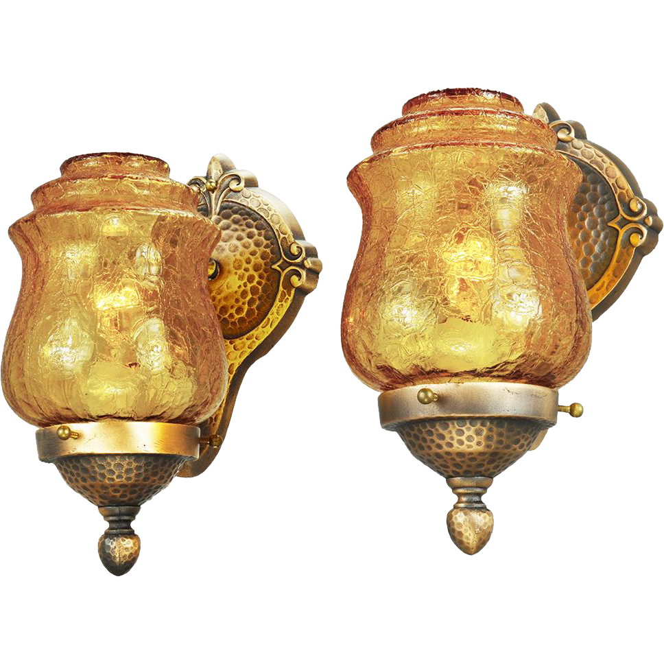 Crackle Glass Wall Sconces : Arts & Crafts Style Wall Sconces Pair Bronze and Crackle Glass Lights from vintagehardware ...