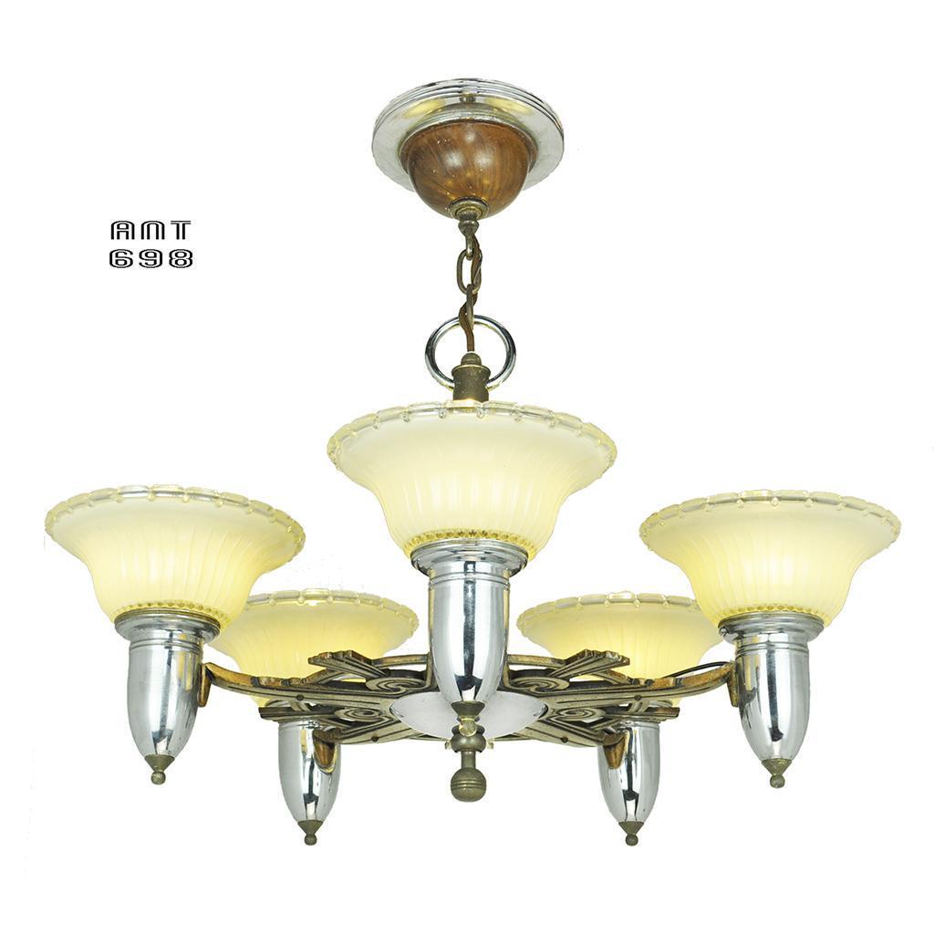 art deco streamline style chandelier vintage 5 light ceiling fixture from vintagehardware. Black Bedroom Furniture Sets. Home Design Ideas