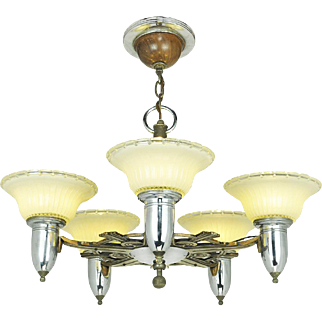 Art Deco Streamline Style Chandelier Vintage 5 Light Ceiling Fixture (ANT-698)