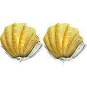 Art Deco Clam Shell Odeon Theatre Wall Sconces Pair of Theater Lights (ANT-703)