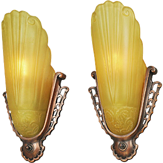 Vintage Art Deco Wall Sconces Pair of Virden Slip Shade Lights 1930s (ANT-709)