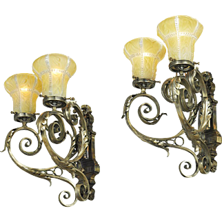 Vintage Wall Sconces Pair of Edwardian Double Arm Lights Circa 1920s (ANT-716)