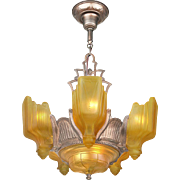 Art Deco 6 Light Chandelier Vintage 1930s Slip Shade Ceiling Fixture (ANT-719)