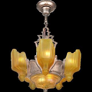 Art Deco 6 Light Chandelier Vintage 1930s Slip Shade Ceiling Fixture (ANT-719)