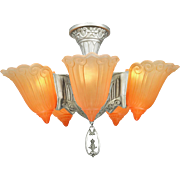 Art Deco Chandelier Vintage 5 Light Semi Flush Mount Ceiling Fixture (ANT-721)