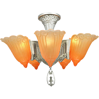 Art Deco Chandelier Vintage 5 Light Semi Flush Mount Ceiling Fixture (ANT-721)