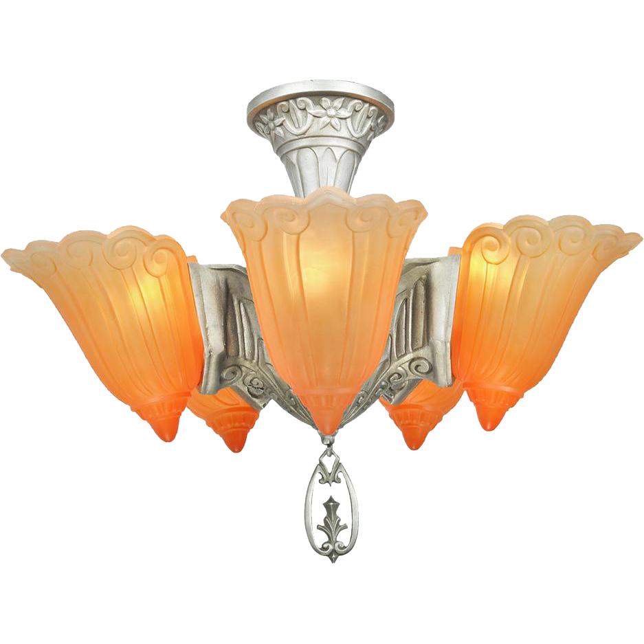 Art Deco Chandelier Vintage 5 Light Semi Flush Mount