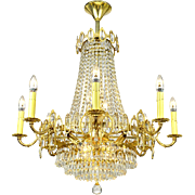 Vintage Crystal Chandelier 16 Light Rewired Elegant Ceiling Fixture (ANT-723)