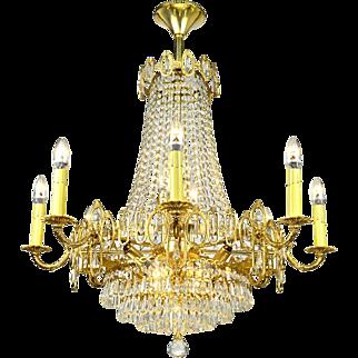Vintage Crystal Chandelier 16 Light Rewired Elegant Ceiling Fixture (ANT-723)