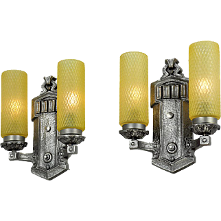 1920s Wall Sconces Pair of Vintage Double Arm Lights Vintage Fixtures (ANT-729)