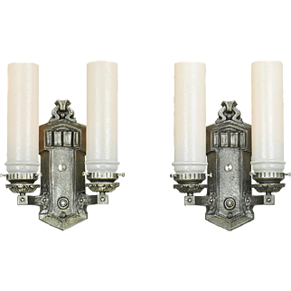 1920s Wall Sconces Pair of Vintage Double Arm Lights Vintage Fixtures (ANT-730)