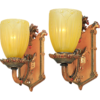 Edwardian Style Pair of Vintage Wall Sconces Circa 1910 - 1920 Lights (ANT-741)