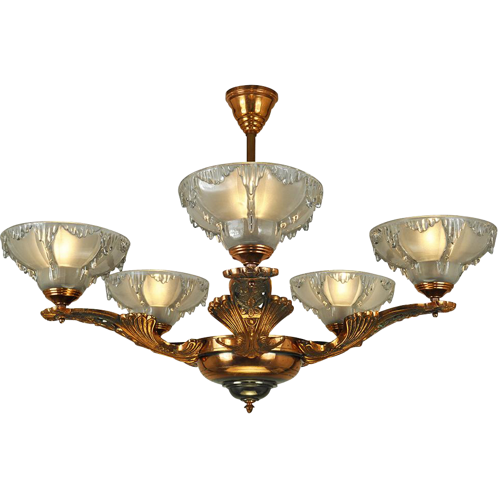 vintage art deco french chandelier ezan icicle light fixture copper from vintagehardware. Black Bedroom Furniture Sets. Home Design Ideas