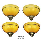 Set of 4 Vintage Wall Sconces Amber Holophane Style Slip Shade Lights (ANT-748)