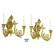 Pair of Bronze Candlestick Sconces Wall Mount 2 Arm Candle Holders (ANT-750)
